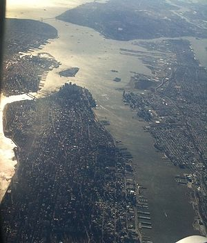 Shot of lower manhattan taken from an airplane...