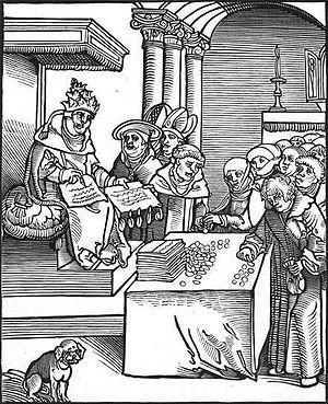 English: woodcut of the pope selling indulgenc...