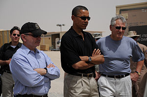 English: Senators Jack Reed, Barack Obama and ...