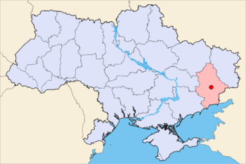 Location of Donetsk (red) and Donetsk Oblast (...