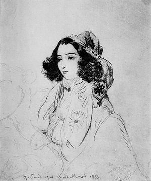 English: Drawing of George Sand by Alfred De M...