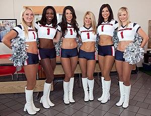 English: Houston Texans cheerleaders at an eve...