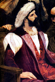 Half-length painted portrait of a bearded man wearing a hat with a large feather.