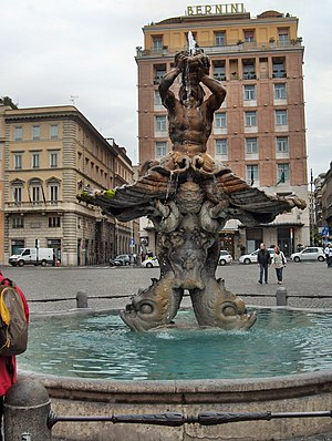 English: View on Piazza Barberini and the Trit...