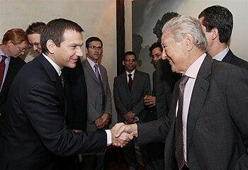 English: Bajnai has met George Soros in New York