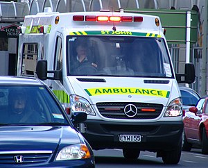 English: St John Mercedes ambulance travelling...