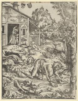 Home Llobu Atacando. Dibujo de 1912 de Lucas Cranach el Viejo