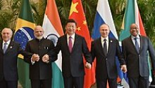 Modi with other BRICS leaders in 2016. Left to right: Temer, Modi, Xi, Putin and Zuma.