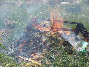 Burning Chametz in Ofra, Passover eve