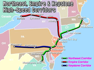 English: Map of Northeast, Keystone, and Empir...