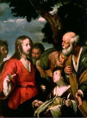 English: Jesus feeding a crowd with 5 loaves o...