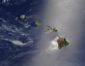 Česky: Satelitní pohled na Havajské ostrovy En...