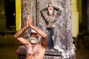 A sadhu performing namaste (W:Anjali mudra) in...