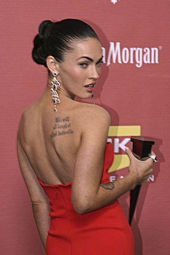 A Tattoo on Megan Fox's back.