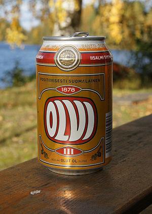 English: Olvi beer can. Lietuvių: Skardinė &qu...