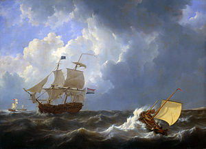 Ships on a rough sea.