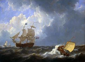 Ships on a rough sea.