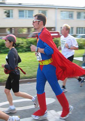 Superman running on Helsinki City Marathon 2007