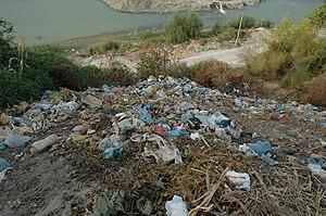 Trash pile in Berat, Albania