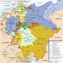 """Karte des Deutschen Bundes, 1815–1866. Die viel gescholtene """"Kleinstaaterei"""" war eine Zeit kultureller und wirtschaftlicher Blüte (Bildquelle: Wikipedia)"""