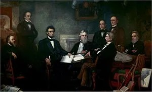 Lincoln met with his Cabinet for the first rea...