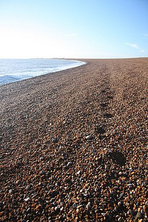 English: Footsteps in the shingle A beachcombe...