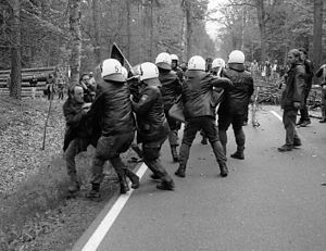 Riots at anti-nuclear demonstrations near Gorl...