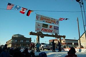 The Burled Arch in Nome, Alaska, the finish li...