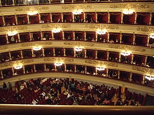 The world renowned La Scala opera house in Milan, Italy.