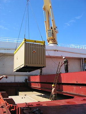 Loading a container into a Container ship hold.