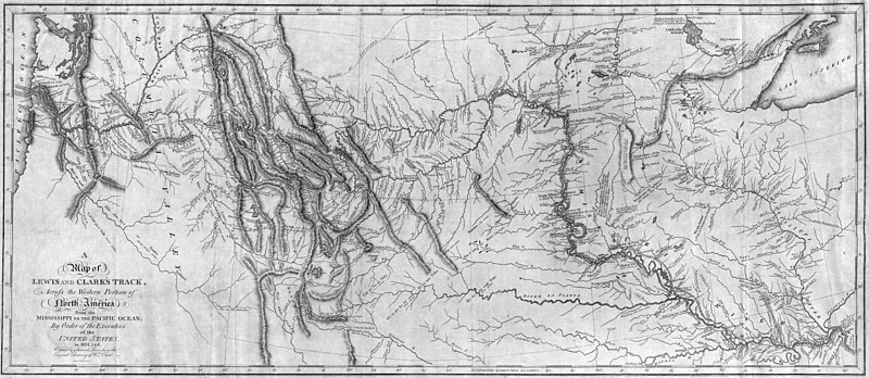 Archivo:Map of Lewis and Clark's Track, Across the Western Portion of North America, published 1814.jpg
