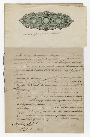 Alfred Nobel's application for patent, regardi...