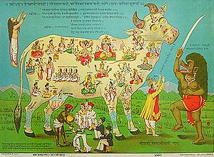 In a poster condemning the consumption of beef...