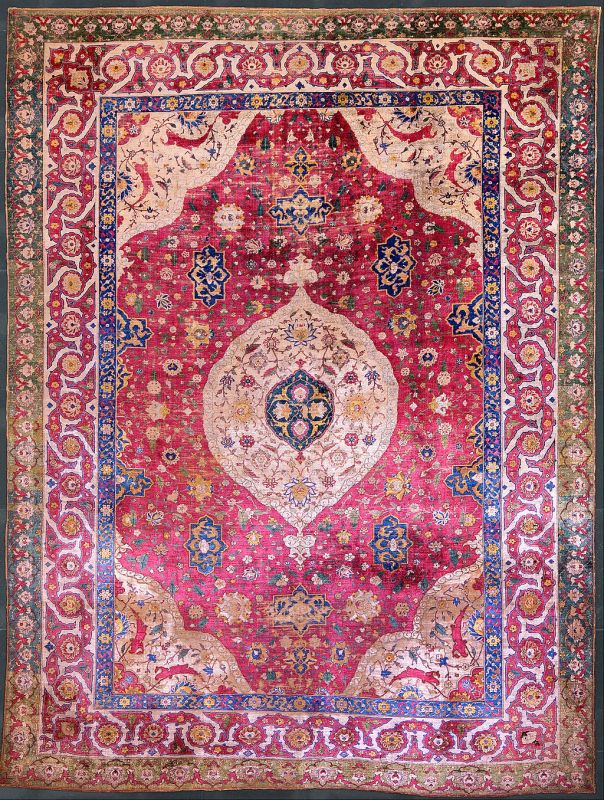 Unknown, Iran, mid-16th Century - The Rothschild Small Silk Medallion Carpet - Google Art Project