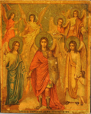 Council of Seven Holy Archangels. Russian icon.