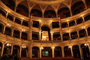 The interior of the Opera House in Budapest.