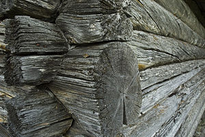 Detail from log cabin in Rendalen, Norway
