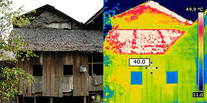 English: Thermal imaging Khmer houses