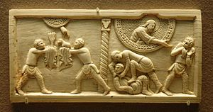 Cain and Abel, ivory panel from the cathedral ...