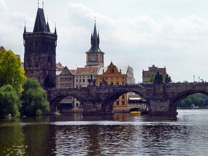 Charles Bridge as seen from the Vltava River, ...