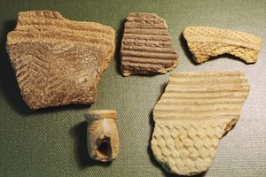 Fragments of prehistoric pottery from Kamabai ...