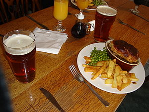 Picture of a pie and pint taken for enwiki-p's...