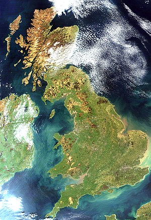 English: Satellite image of Great Britain and ...