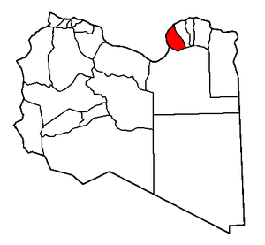 English: map of Libya with Shabiat Banghazi hi...