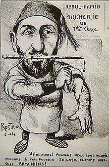Un homme portant un fez et des babouches, un poignard sanglant à la bouche, se retrousse les manches. Derrière lui, un écriteau annonce «Abdul-Hamid - Boucherie de 1re classe». Il dit: «Veine alors! Pendant qu'ils sont occupés ailleurs je vais pouvoir saigner encore quelques Arméniens!».