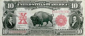 American bison on the obverse of the 1901 $10 ...