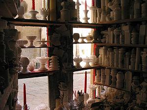 Alabaster Werkstatt in Volterra, Toscana, Italien