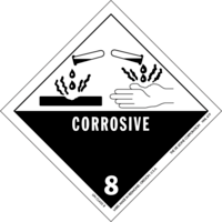 Dangerous goods label for hydrochloric acid: c...