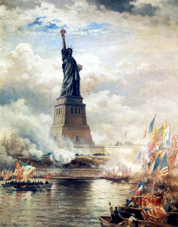 """""""Unveiling The Statue of Liberty"""" by Edward Moran"""