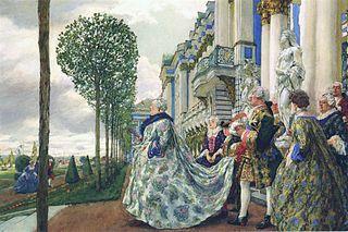 La emperatriz Isabel en la terraza del recién construido Palacio de Catalina (1905), pintura de Eugene Lanceray, ahora en la Galer�a Tretyakov.